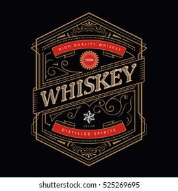 Whiskey antique frame Vintage border engraving western retro label vector illustration