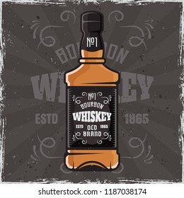 Whiskey bottle advertising banner vector colored illustration on dark background with grunge textures