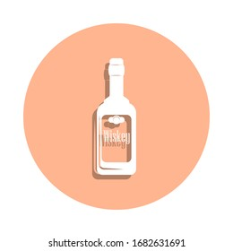 Whiskey bottle badge icon. Simple glyph, flat vector of drink icons for ui and ux, website or mobile application