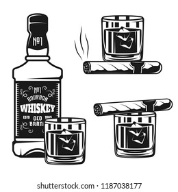 Whiskey bottle with glass and cigar vector black objects or design elements isolated on white background