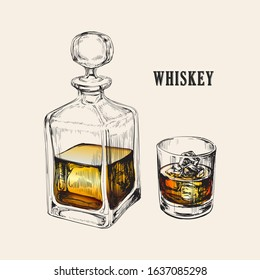 Whiskey Bottle and Glass. Hand Drawn Drink Vector Illustration.