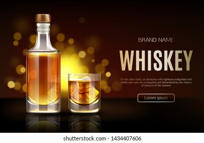 Whiskey bottle and glass mockup. Closed blank flask with strong alcohol drink mock up stand on dark background with defocused sparkles, advertising promo ad banner, Realistic 3d vector illustration