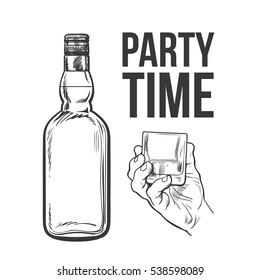 Whiskey bottle and hand holding full shot glass, sketch style vector illustration isolated. black and white hand drawing of an unlabeled, unopened whiskey bottle, party time concept for posters