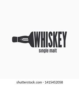 Whiskey bottle logo. Lettering sign of whisky on white background