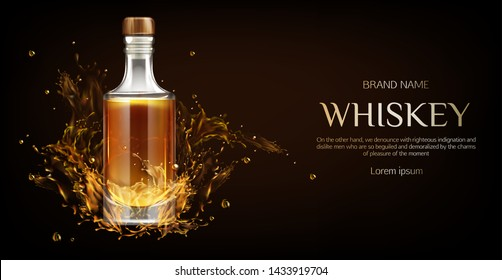 Whiskey bottle mockup. Closed glass blank flask with strong alcohol drink mock up stand on dark background with liquid splashes and drops, advertising promo ad banner, Realistic 3d vector illustration