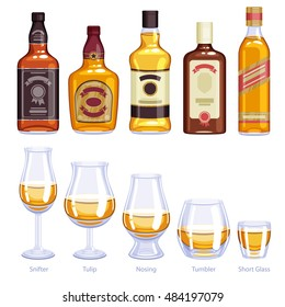 Whiskey bottles and glasses icons set. Alcohol vector illustration. Snifter, tulip, nosing, tumbler, short glasses