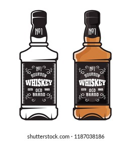 Whiskey bottles set of two styles colored and black vector illustration isolated on white background