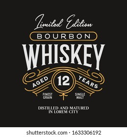 Whiskey Bourbon label logo emblem with ornate monoline borders gold colored. Vintage vector illustration.