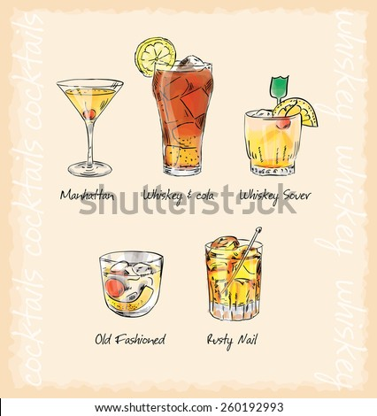 whiskey cocktails menu vector