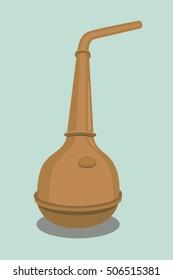 Whiskey distillation copper pot still vector illustration
