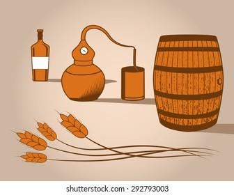 Whiskey Distilling Vector Elements