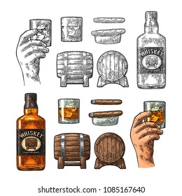 Whiskey glass with ice cubes, barrel, male hand, ashtray, bottle and cigar. Vector vintage color engraving isolated on white background. Hand drawn design element for poster, invitation to party