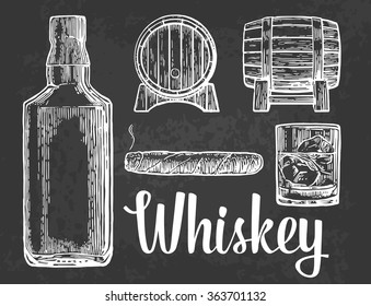Whiskey glass with ice cubes, barrel, bottle, cigar. Engraving vintage vector white illustration. Isolated on black background. Hand drawn design element for label and poster