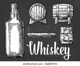 Whiskey glass with ice cubes, barrel, bottle, cigar.Engraving vintage vector white illustration. Black on old paper black texture background.