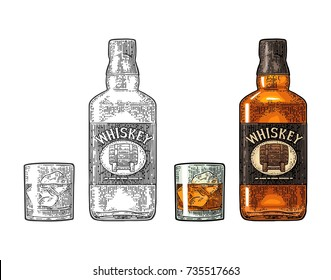 Whiskey glass with ice cubes and bottle label with barrel. Vector color and black engraving vintage illustration isolated on white background. Hand drawn design element.