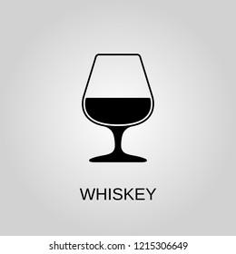 Whiskey glass icon. Whiskey glass symbol. Flat design. Stock - Vector illustration