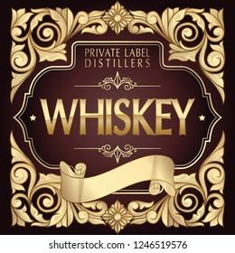 Whiskey - golden ornate vintage decorative label