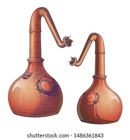 Whiskey from grain to bottle. A Swan necked copper Stills. Painted sketch style drawing. EPS10 vector illustration.
