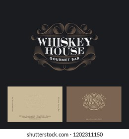 Whiskey house logo. Vintage pub or bar emblem. Restaurant emblems. Beautiful curls and letters isolated on a dark background. Identity. Business card.
