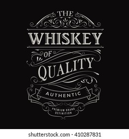 whiskey label hand drawn vintage typography blackboard border vector