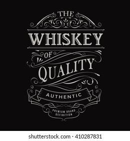 whiskey label hand drawn vintage typography blackboard border vector