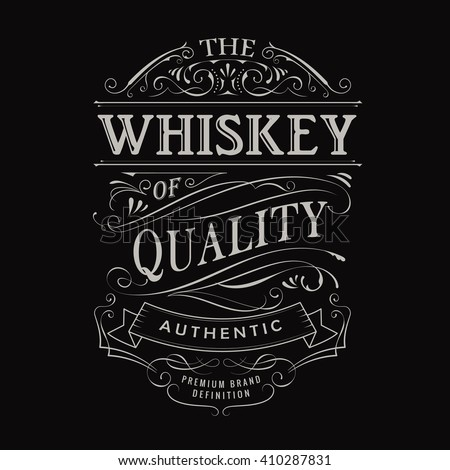whiskey label hand drawn vintage typography stock vector royalty