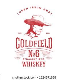 Whiskey Label. Masculine Man in Cowboy Hat. Vintage Lettering Logo