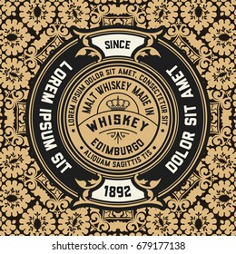 Whiskey label with old wallpaper
