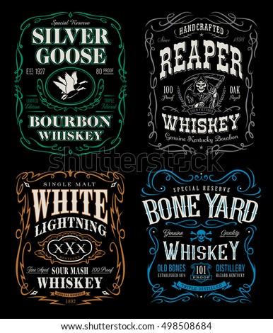 whiskey label tshirt graphics set stock vector royalty free