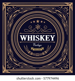Whiskey Label vintage design retro vector illustration