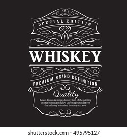Whiskey label vintage hand drawn ornament typography blackboard border vector
