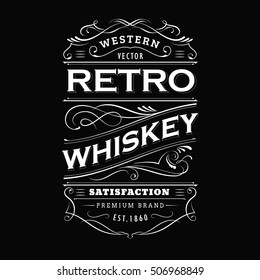 Whiskey label vintage hand drawn border typography blackboard vector