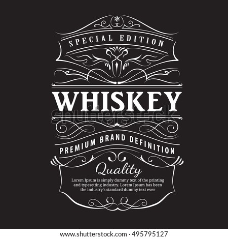 whiskey label vintage hand drawn ornament stock vector royalty free