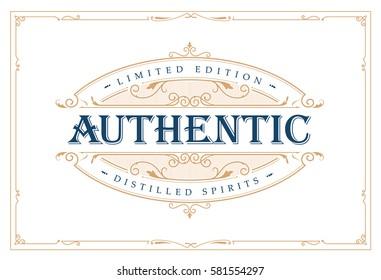Whiskey label vintage logo western hand drawn engraving retro vector illustration