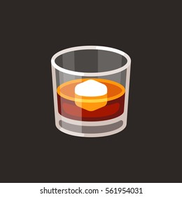 Whiskey on the rocks icon. Scotch brandy glass with ice cube, vector illustration in simple flat cartoon style.