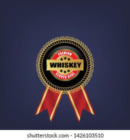 whiskey - premium. gold label with ribbon. gold emblem with ribbons.