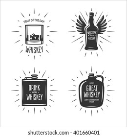 Whiskey related typography set. Quotes about whiskey. Drink more whiskey. Whiskey makes me frisky. Great whiskey ain't gonna drink itself. Vector vintage illustration.