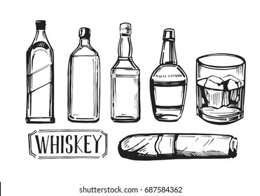 Whiskey set with bottles of bourbon, scotch, cigar and glass. Hand drawn illustration converted to vector. Isolated on white background.