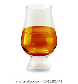 Whiskey tumbler glass realistic transparent isolated icon. Alcohol drink glass vector illustration
