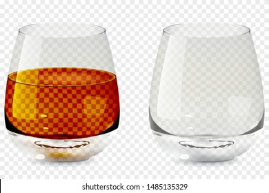 Whiskey tumbler glass realistic transparent icon. Alcohol drink glass vector illustration