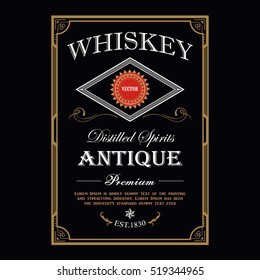 Whiskey Vintage border antique frame engraving western label retro vector illustration