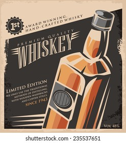 Whiskey vintage poster design template. Retro drink creative  promotional ad concept on old paper texture.
