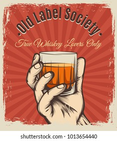 Whiskey vintage poster. Retro vector scotch drink booze party drawing placard