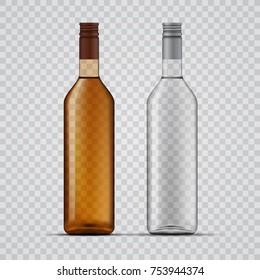 Whiskey and vodka transparent bottles design, vector template