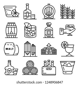 Whisky bar icon set. Outline set of whisky bar vector icons for web design isolated on white background
