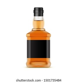 Whisky bottle or glassware jar of whiskey. Irish scotch or bourbon, liquor. Isolated container for alcohol with blank label. Alcoholic beverage for party, bar or pub. Background for store or shop sale
