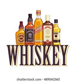 Whisky bottles and glasses. Alcohol vector illustration. Drinks bar party design.