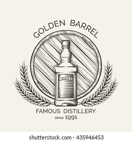 Whisky distillery emblem. Vector production logo template