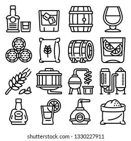 Whisky icons set. Outline set of whisky vector icons for web design isolated on white background