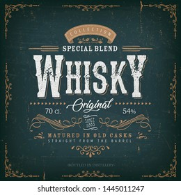 Whisky Label For Bottle/ Illustration of a vintage design elegant whisky label, with crafted letterring, specific product mentions, textures and celtic patterns, on blue and gold background
